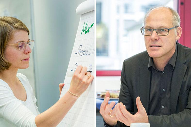 Das linke Foto zeigt die Psychologin Isabell Kuczynski. Sie schreibt etwas auf einen Flipchart. Das rechte Foto zeigt Dr. Just Mields. Er hat kurze graue Haare und trägt eine Brille. Er sitzt an einem Tisch und trägt etwas vor.