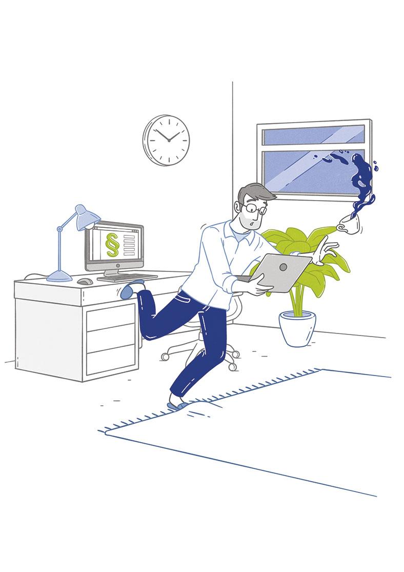 """Die Illustration zeigt einen jungen Mann mit einem Laptop in der Hand. Den Fuß hat er im Teppich verfangen und droht zu stolpern. Das Thema ist """"Arbeitsunfall in den eigenen vier Wänden""""."""