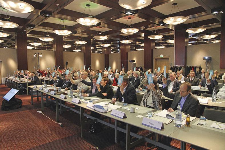 Diese Abbildung zeigt eine Abstimmung während einer Vertreterversammlung.