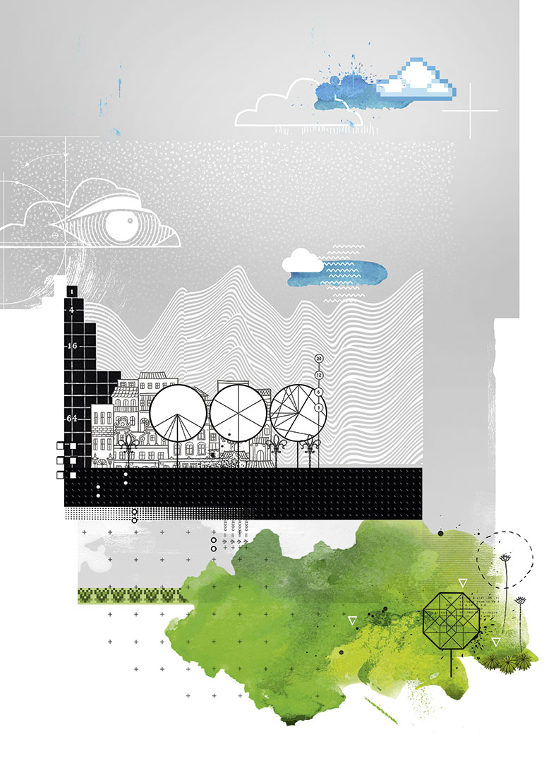 Diese Illustrationen zeigen im oberen Bereich ein paar Wolken. In der Mitte dieser Seite einige Hochhäuser die nebeneinander stehen. Im unteren Bereich ist eine Grünfläche abgebildet, die wie ein Teil einer Landkarte aussieht.