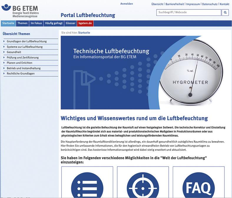 Panorama: Portal Luftbefeuchtung der BG ETEM