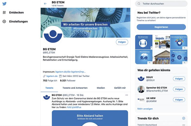 Panorama: BG ETEM in Sozialen Netzwerken