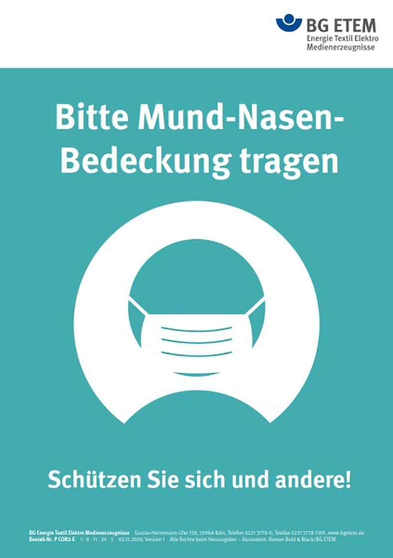 Ansicht eines Aushangs der BG ETEM. Es ist in türkis und weiß gehalten und zeigt einen stilisierten Kopf mit weißem Mund-Nasenschutz.