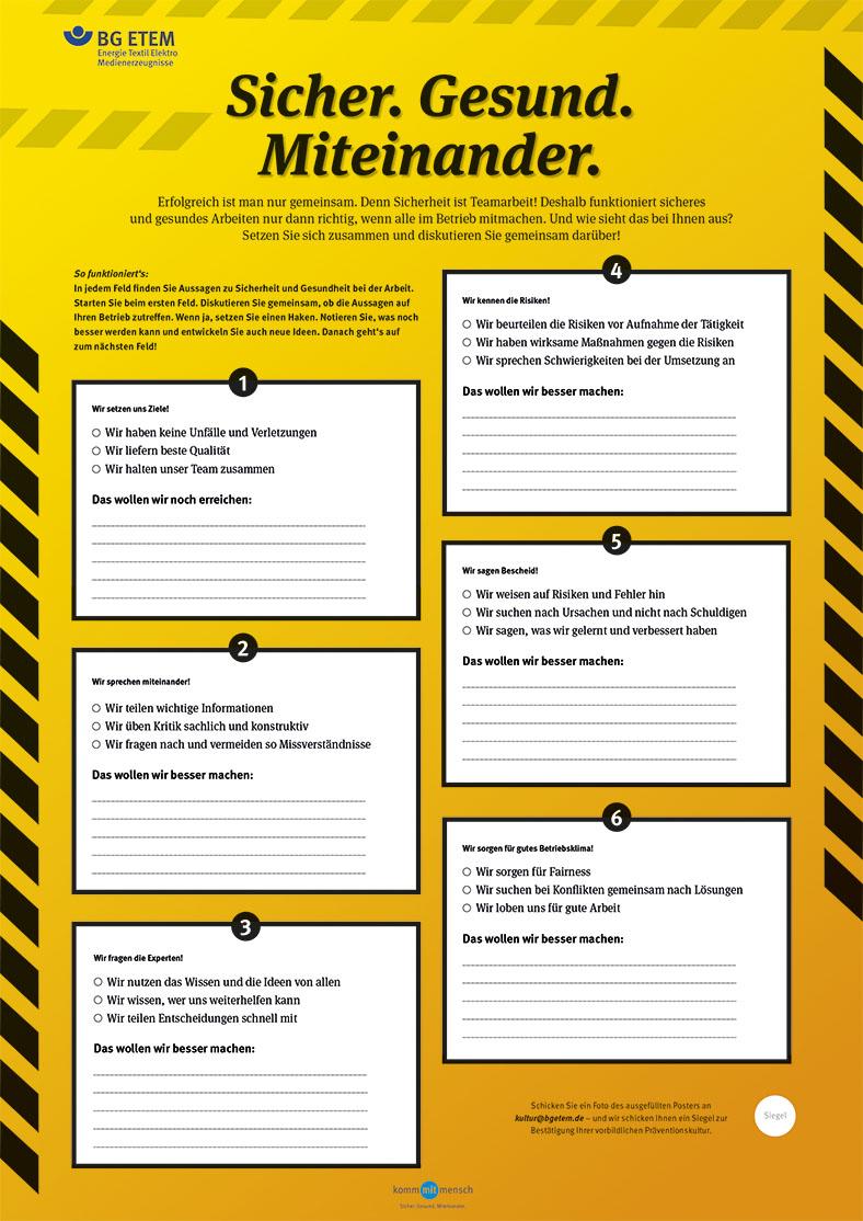 Ansicht eines gelben Risikoposters der BG ETEM mit mehreren weißen Kommentarfeldern zum Ausfüllen.