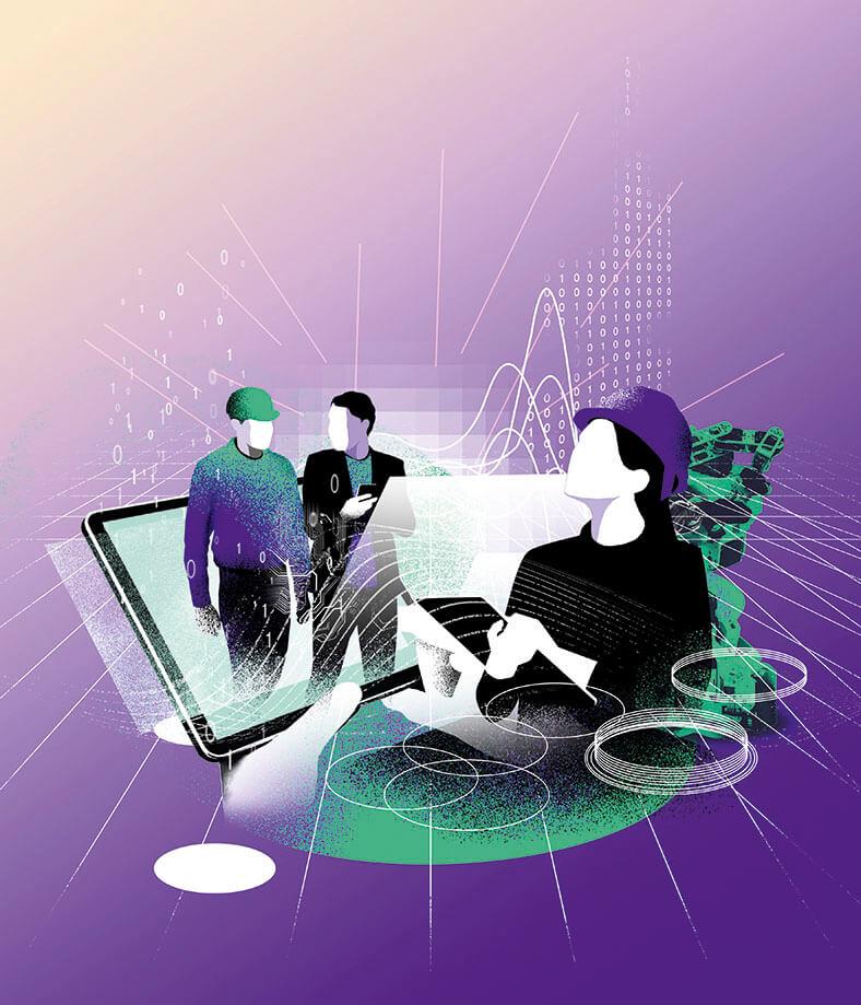 """Diese Illustration zeigt zwei Hände, die ein Tablet bedienen, auf dessen Touchscreen das Thema """"Industrie 4.0"""" in Verbindung mit Sicherheit und Gesundheit der Beschäftigten dargestellt wird."""