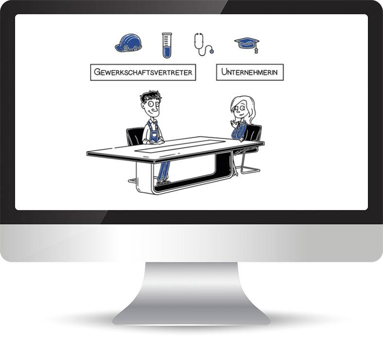 """Auf diesem Monitor wird ein Ausschnitt des Videos zum Thema """"Rentenausschuss"""" gezeigt. Es ist eine Illustration zu erkennen. Ein Mann und eine Frau sitzen an einem Schreibtisch."""
