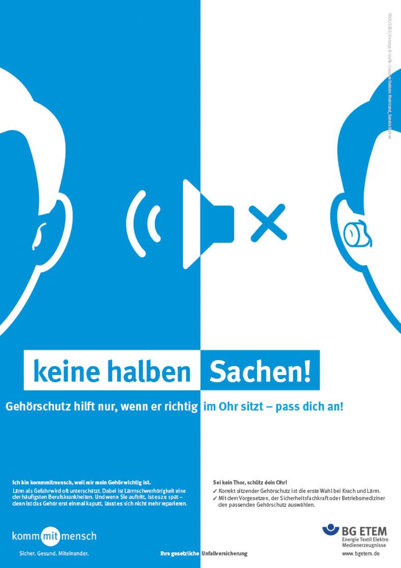 """Hier wird ein Plakat aus der Plakatkampagne 2020 gezeigt mit dem Titel """"keine halben Sachen""""."""