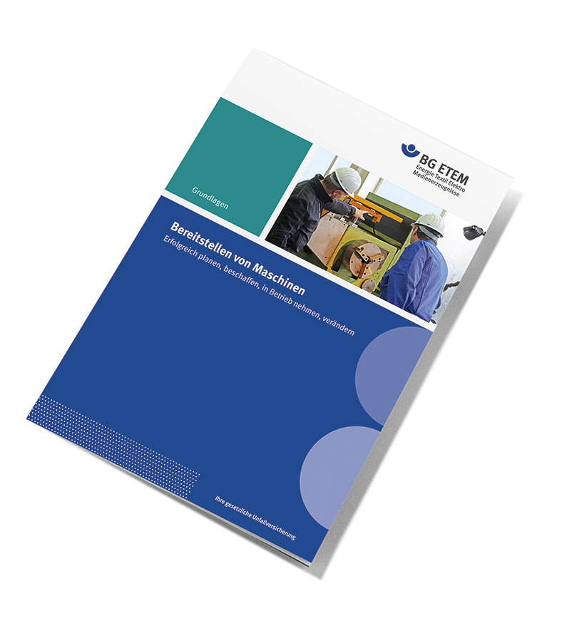 """Hier wird der Titel der neuen Broschüre """"Bereitstellen von Maschinen"""" der BG ETEM gezeigt."""