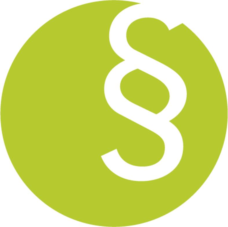 Dieses Piktogramm zeigt ein Paragrafenzeichen in weiß vor grünem Hintergrund.