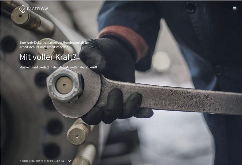 Das Foto zeigt einen Screenshot der Web-Doku zu Muskel-Skelett-Erkrankungen. Eine Hand mit Handschuh versucht, ein Maschinenteil mit großer Schraube zu öffnen.