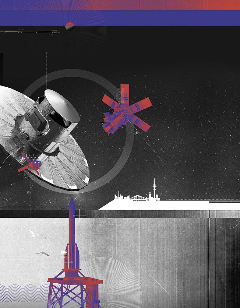 Im Hintergrund wird als Illustration ein Weltraumflughafen gezeigt. Im Vordergrund eine Rakete auf einer Raketenrampe. Auf der Mitte der Seite ist ein Satellit abgebildet.