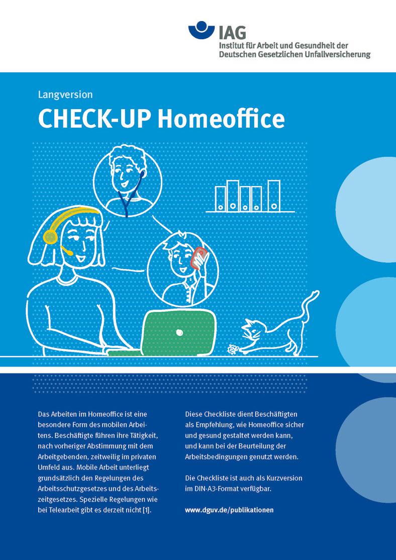"Blaues Cover der DGUV-Checkliste ""Check-up Homeoffice""."
