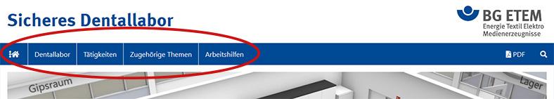 Die Abbildung zeigt den Kopfbereich einer Internetseite mit einem Topmenü in blau mit Menüeinträgen in weißer Schrift.