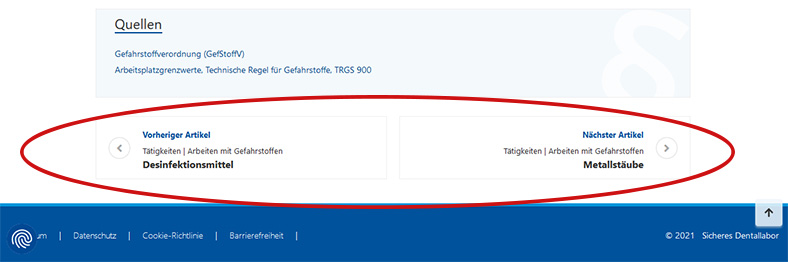 Die Abbildung zeigt den Fußbereich einer Internetseite mit einer Vor- und Zurück-Blätterfunktion.