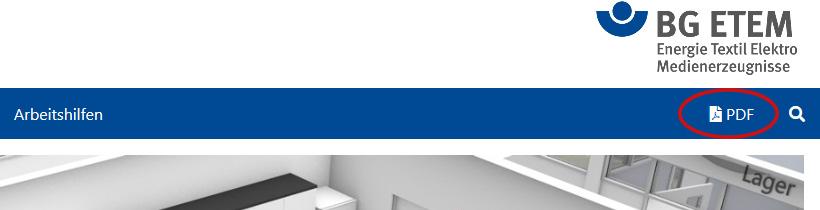 """Die Abbildung zeigt den Kopfbereich einer Internetseite mit dem BG ETEM Logo dem rot umrahmten Menüeintrag """"PDF""""."""