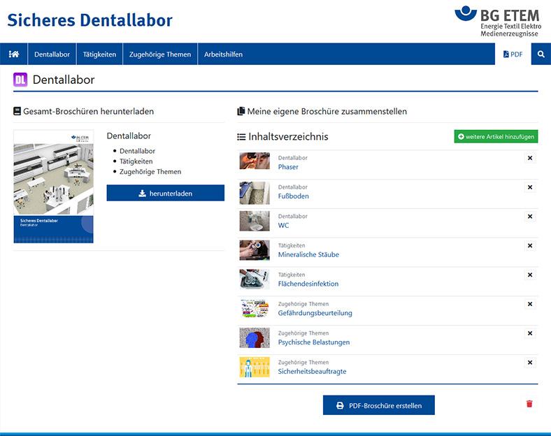 Die Abbildung zeigt die Internetseite Sicheres Dentallabor mit dem PDF-Downloadbereich, links ist das Cover einer Broschüre zu sehen.