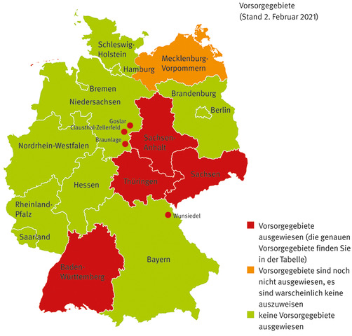Karte der Bundesrepublik Deutschland, aufgeteilt nach Bundesländern. Grün gefärbt sind Bundesländer ohne ausgewiesene Radonvorsorgegebiete, rot gefärbt sind Bundesländer mit ausgewiesenen Radonvorsorgegebieten.
