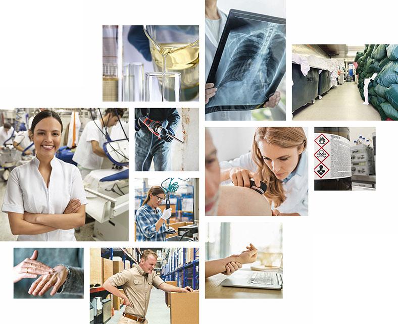 Collage aus mehreren Bildern zum Thema Berufskrankheiten, man sieht den Umgang mit chemischen Flüssigkeiten, einen Handwerker mit Bohrmaschine, eine Beschäftigte in einem Textilreinigungsunternehmen, eine Beschäftigte im Elektrobereich, eine Frau, die sich die Hände eincremt, einen Lagerarbeiter, der sich den schmerzenden Rücken hält, eine Ärztin mit Röntgenaufnahme einer Lunge, ein Hautärztin bei der Untersuchung eines Patienten, Behälter mit giftigen Substanzen, gelagerte Schmutzwäsche in einer Wäscherei sowie schmerzende Handgelenke über einer Computertastatur.