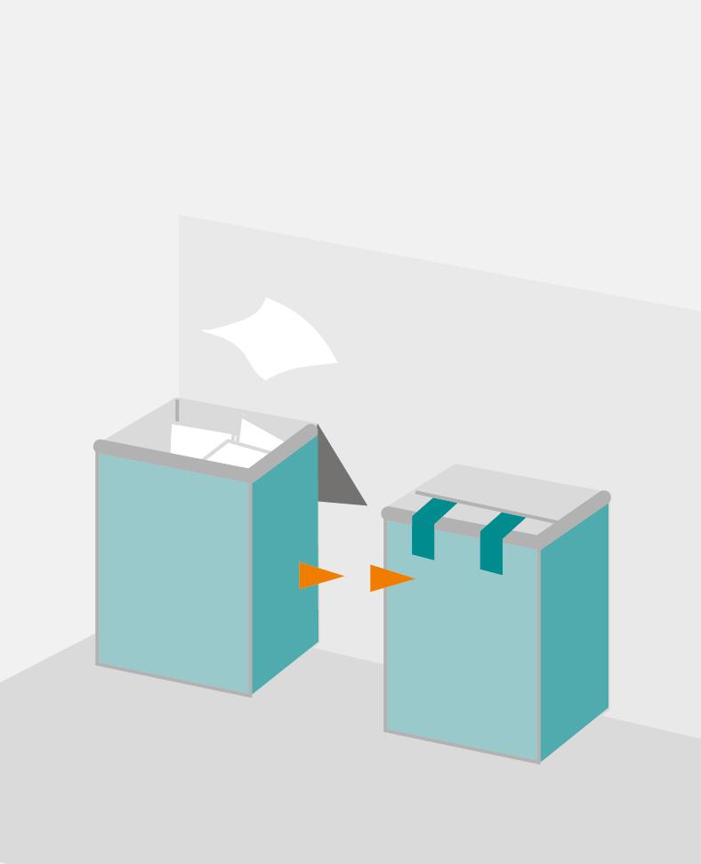 Zwei kastenförmige Behälter stehen nebeneinander, einer ist offen mit weißen Tüchern, einer hat einen geschlossenen Deckel.