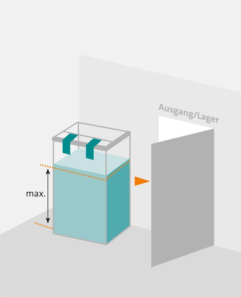Zeichnung eines grünen, rechteckigen Behälters, rechts daneben eine graue, halb geöffnete Tür.