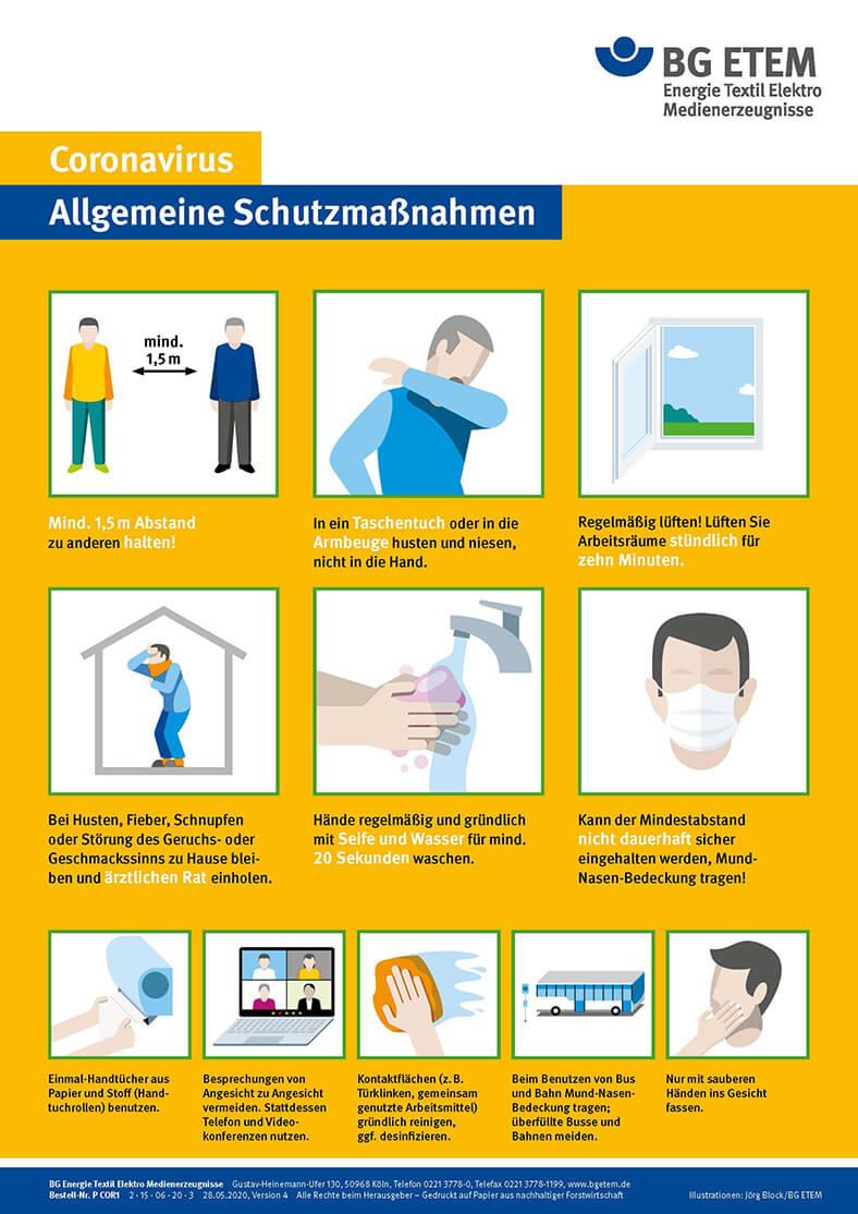 Plakatmotiv der BG ETEM Coronavirus – Allgemeine Schutzmaßnahmen. Darstellungen von Hände waschen, Abstand halten, Hände aus dem Gesicht halten usw. und beschreibenden Worten.