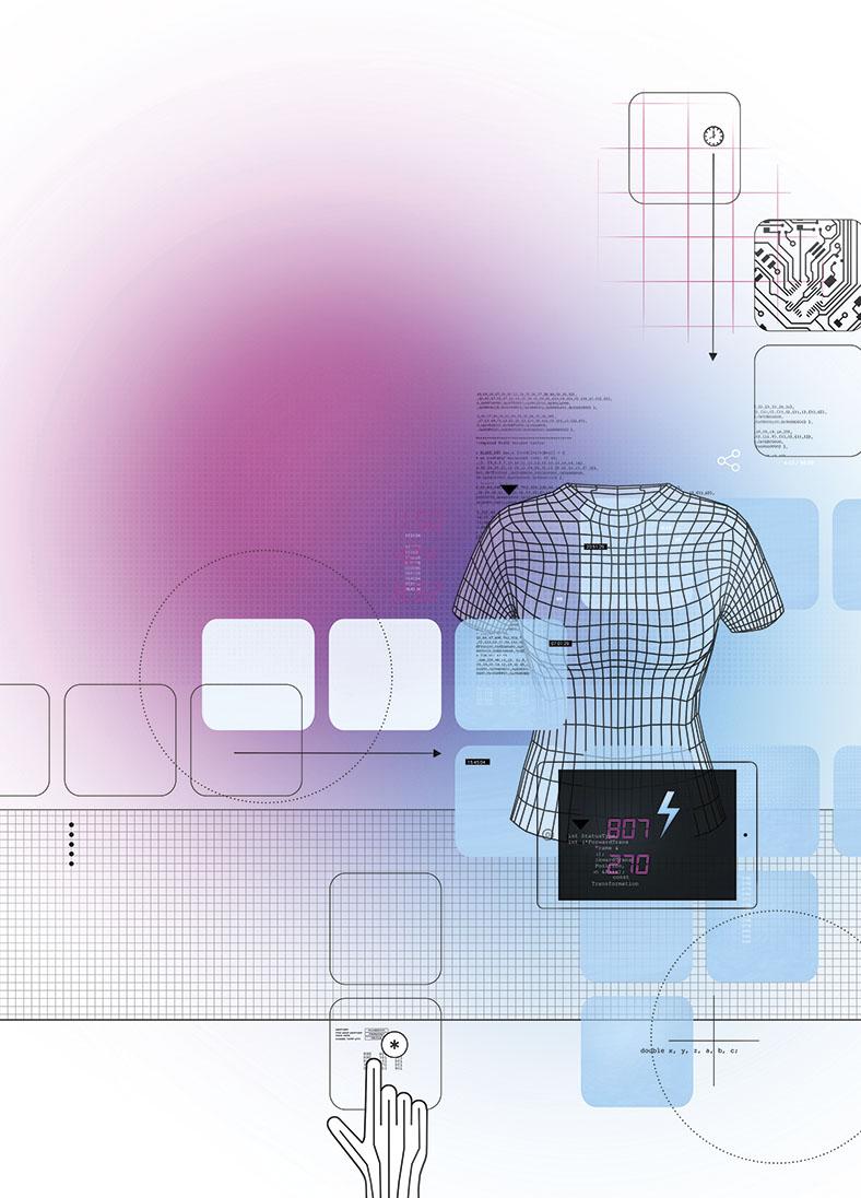 Illustration Textilindustrie mit diversen Elektroniksymbolen und einem gerasterten Torso, der auf smarte Textilien hinweist. Im Hinterrund hellblau-pinkfarbener Farbverlauf.