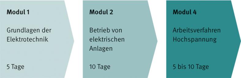 Die Grafik zeigt den modularen Aufbau des BG-Leitfadens zur Basisqualifikation von Arbeitsverantwortlichen bei der Montage elektrischer Anlagen. Für Hochspannung sind jeweils drei Module nebeneinander als dunkler werdende graugrüne Pfeile mit Beschriftungen angeordnet.