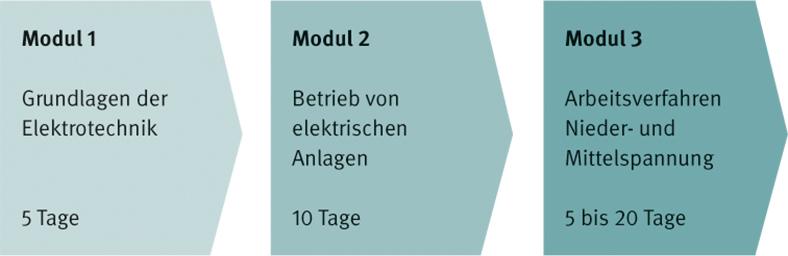Die Grafik zeigt den modularen Aufbau des BG-Leitfadens zur Basisqualifikation von Arbeitsverantwortlichen bei der Montage elektrischer Anlagen. Für Nieder- und Mittelspannung sind jeweils drei Module nebeneinander als dunkler werdende graugrüne Pfeile mit Beschriftungen angeordnet.