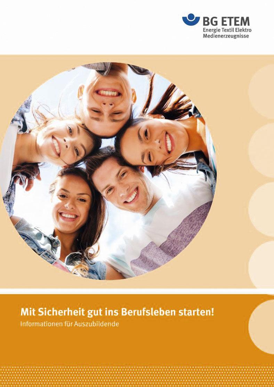 """Broschüren-Deckblatt """"Mit Sicherheit gut ins Berufsleben starten"""" zeigt Köpfe von jungen Menschen im Kreis, Bestandteil des Medienpakets der BG ETEM für Auszubildende."""