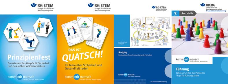 Vier Deckblätter der BG-ETEM-Aktionsmedien zum Thema Arbeitssicherheit.