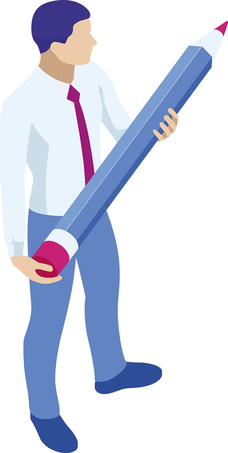 Grafik in Blautönen zeigt eine Person, die einen übergroßen Buntstift in den Händen hält.