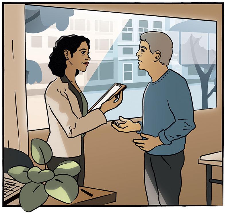 Die Grafik zeigt eine Frau mit dunklen lockigen Haaren in heller Jacke, die ein Klemmbrett hält. Rechts daneben steht ein Mann mit grauem Haar in blauem Pullover, der mit ihr spricht. Im Hintergrund ein großes Fenster, durch das man eine Straße mit Bäumen und eine Häuserfassade sieht.