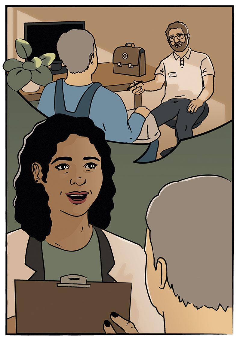 Die Grafik zeigt eine sprechende Frau mit dunklen lockigen Haaren und einem Klemmbrett, rechts im Vordergrund sieht man den Hinterkopf eines grauhaarigen Mannes. Die Sprechblase im oberen Teil des Bildes zeigt, dass die Frau von dem grauhaarigen Mann in blauer Arbeitskleidung erzählt, der mit dem Schutzhelm in der Hand vor einem sitzenden Mann mit Vollbart und Brille in hellem Poloshirt steht. Neben dem sitzenden Mann auf dem Tisch steht eine braune Arzttasche.