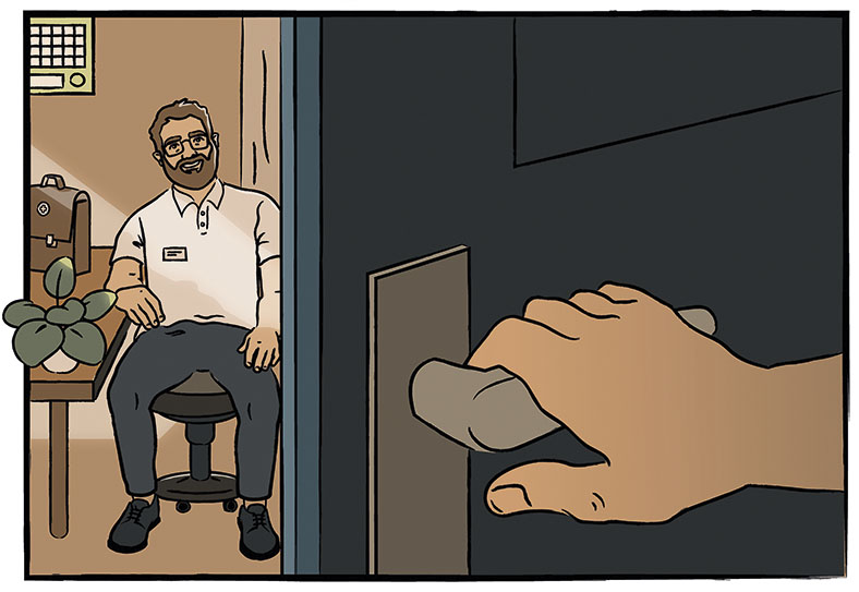 Auf dieser Grafik sieht man im Vordergrund rechts eine Hand, die eine Tür zu einem Raum öffnet. Darin sitzt ein Mann mit Vollbart und Brille in hellem Poloshirt, links neben ihm steht eine Arzttasche und eine grüne Topfpflanze auf einem Tisch.