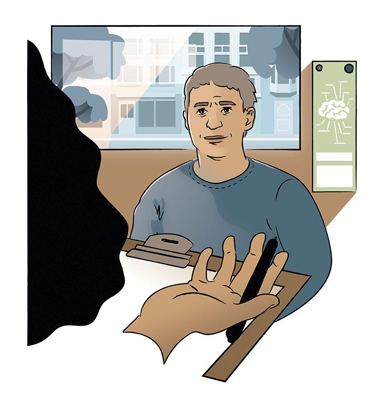 Die Grafik zeigt einen Mann, der vor einer Person mit einem Klemmbrett und einem Stift in der Hand sitzt. Im Hintergrund sieht man durch ein Fenster eine Hausfassade, daneben an der Wand die Darstellung eines Gehirns.