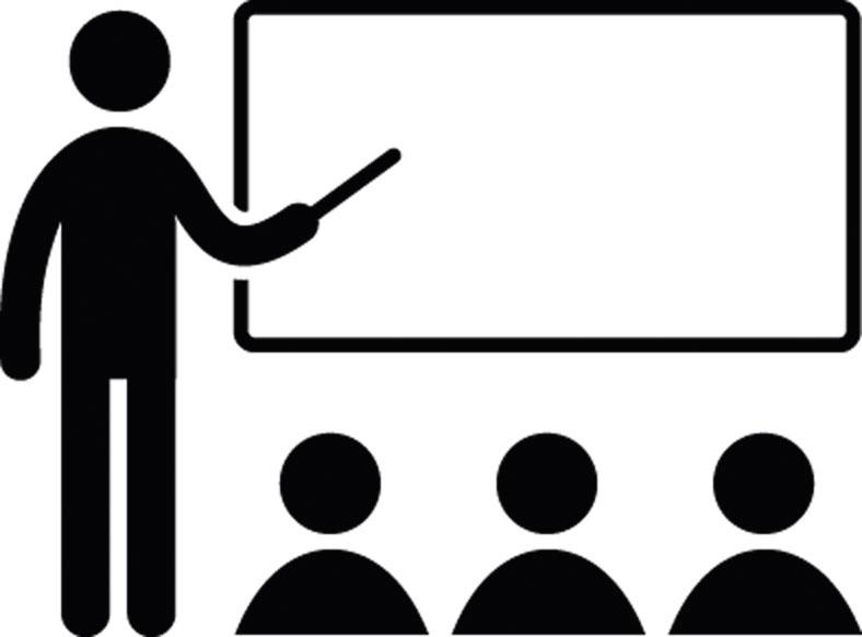Das Piktogramm zeigt einen Seminarleiter mit Zeigestab an einer Tafel, vor dem sich drei zuschauende Personen befinden.