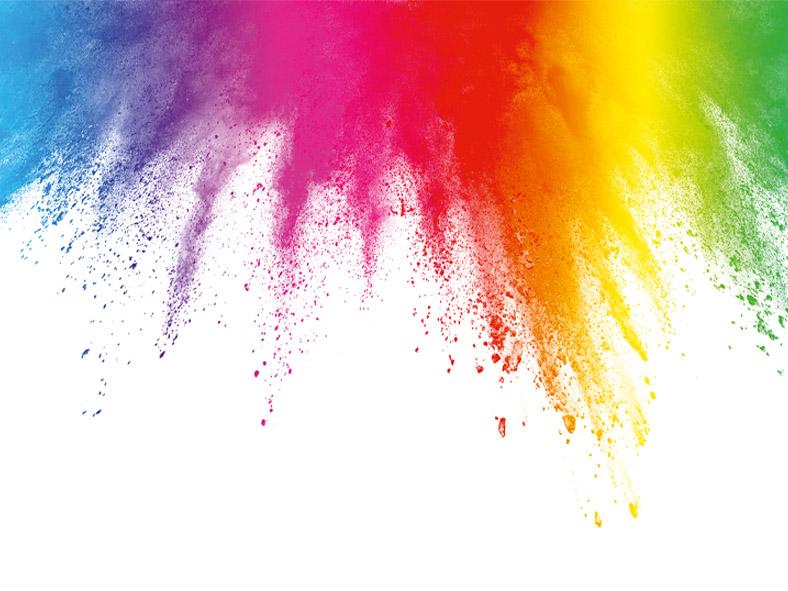 Bunte Farbstreifen  und -spritzer fächern sich von oben nach unten auf in allen Farben das Regenbogens.
