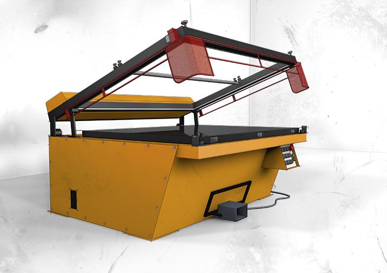 Schema einer winkelöffnenden Siebdruckmaschine in gelb mit roten Schutzblechen.