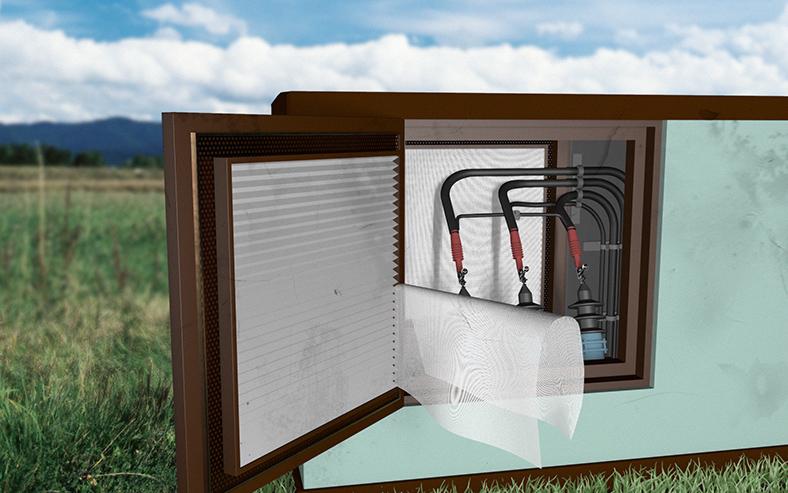 Illustration Trafo-Kompaktstation mit abgelöstem Schutzgitter auf der Türinnenseite.