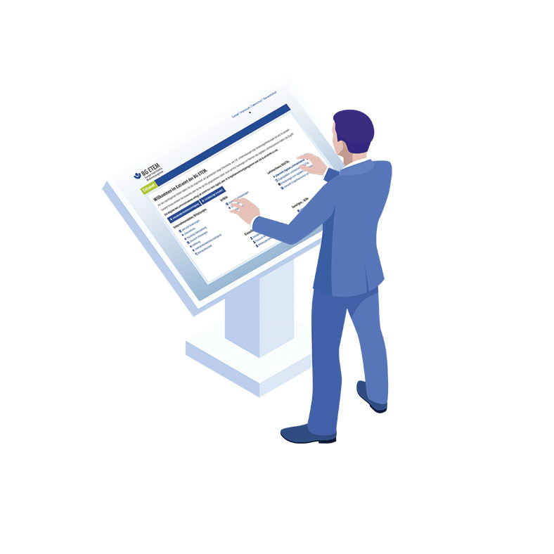 Illustration eines Mannes in blauem Anzug, der vor einem großen digitalen Interface steht, das die Extranetseite der BG ETEM anzeigt.