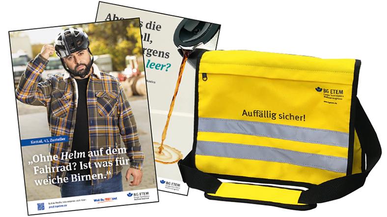 Collage aus zwei Plakatmotiven der BG ETEM Kampagne und einer gelben Tasche mit Reflexionsstreifen.