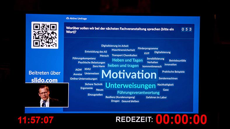 Wortwolke mit Themenwünschen auf einem blauen Großbildschirm, in der linken unteren Ecke eingeblendet ist Johannes Tichi.