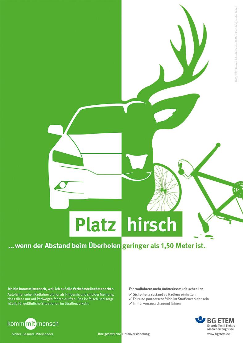 Das Plakat zeigt ein Auto, einen Hirschkopf und ein kaputtes Fahrrad.
