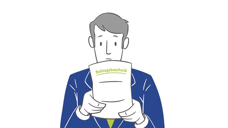 Die Illustration zeigt einen Mann, der den Beitragsbescheid der BG ETEM mit beiden Händen festhält.