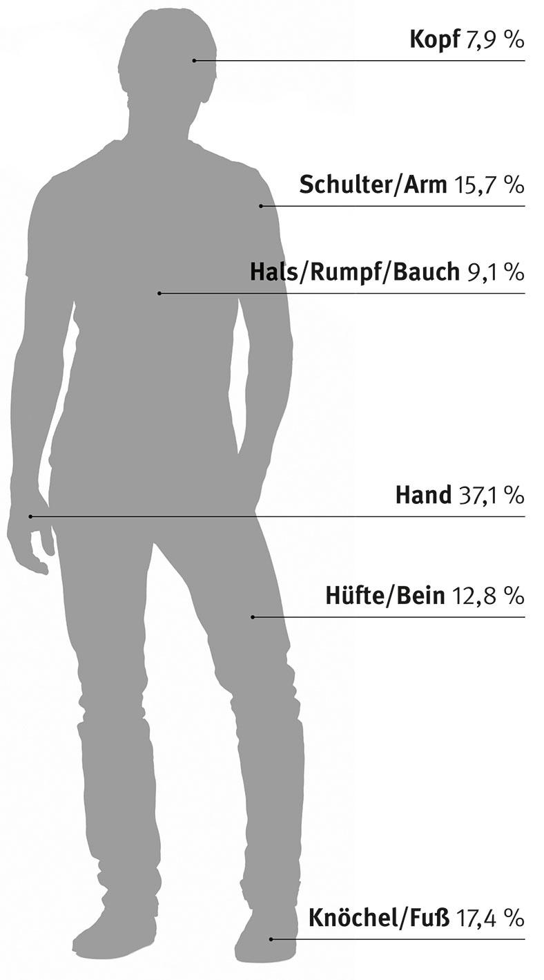 Diese Abbildung zeigt den Schatten einer männlichen Person. An der Schattenperson werden Körperteile anhand von Linien , Text und Prozentzahlen angezeigt, wo Verletzungen aufgetreten sind. Es geht um verletzte Körperteile bei meldepflichtigen Arbeits- und Dienstwegeunfällen.