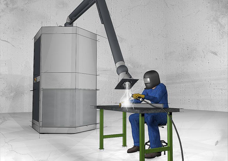 Die Grafik zeigt eine Figur in blauer Arbeitskleidung, er trägt einen schwarzen Schutzhelm mit Visier. Er sitzt vor einem Tisch und bearbeitet mit einem Schweißgerät ein Metallwerkstück. Über der Arbeitsfläche sieht man einen Schlauch mit trichterförmiger Öffnung, der zu einem großen grauen Gehäuse führt, das links neben dem Tisch steht.