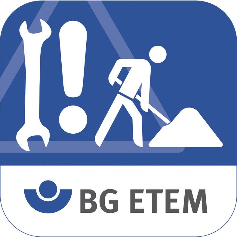 Das App-Symbol zeigt in weiß auf blauem Hintergrund von links nach rechts einen Schraubenschlüssen, ein Ausrufezeigen und eine Figur, die eine Schaufel in einen Haufen steckt, darunter auf weißem Hintergrund das Logo der BG ETEM.