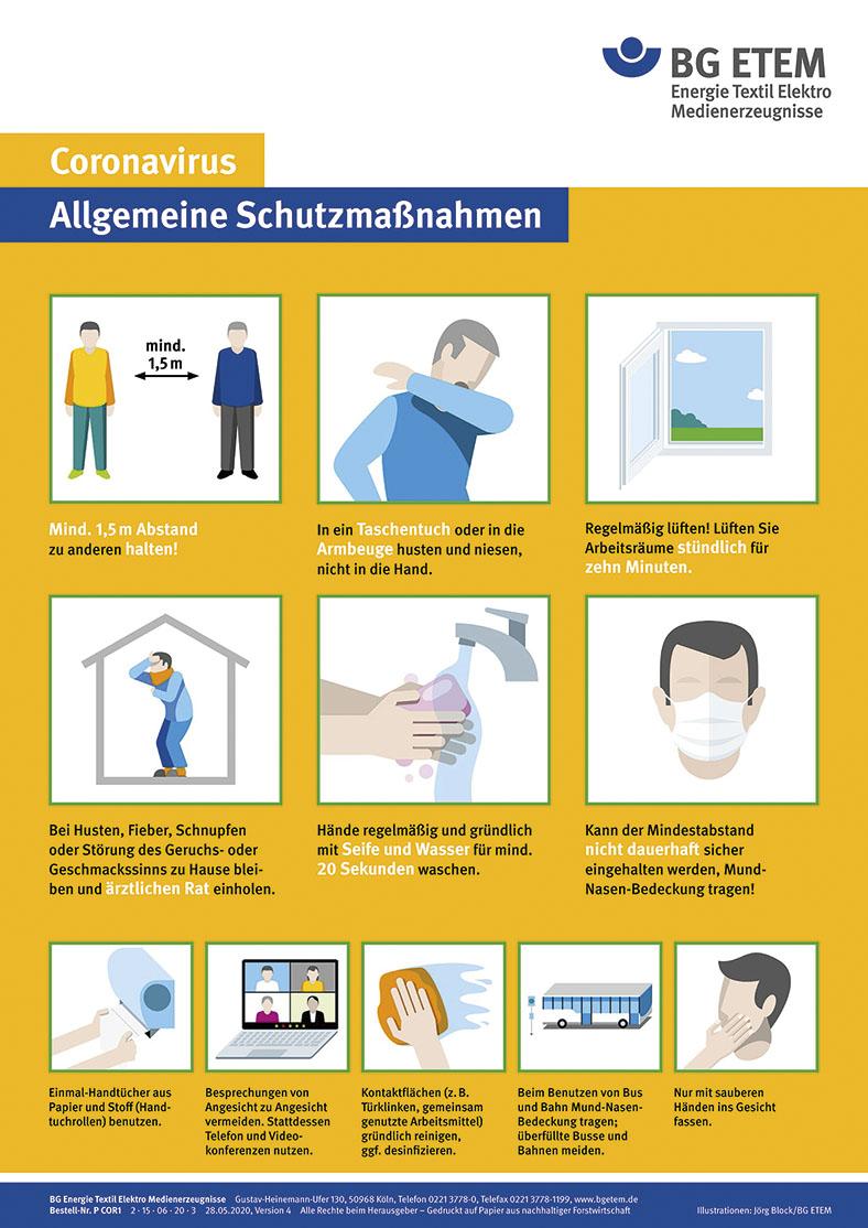 Abbildung des orangenen Plakats der BG ETEM mit Illustrationen der Schutzmaßnahmen gegen das Coronavirus. Unter den Illustrationen steht jeweils ein kurzer Text.