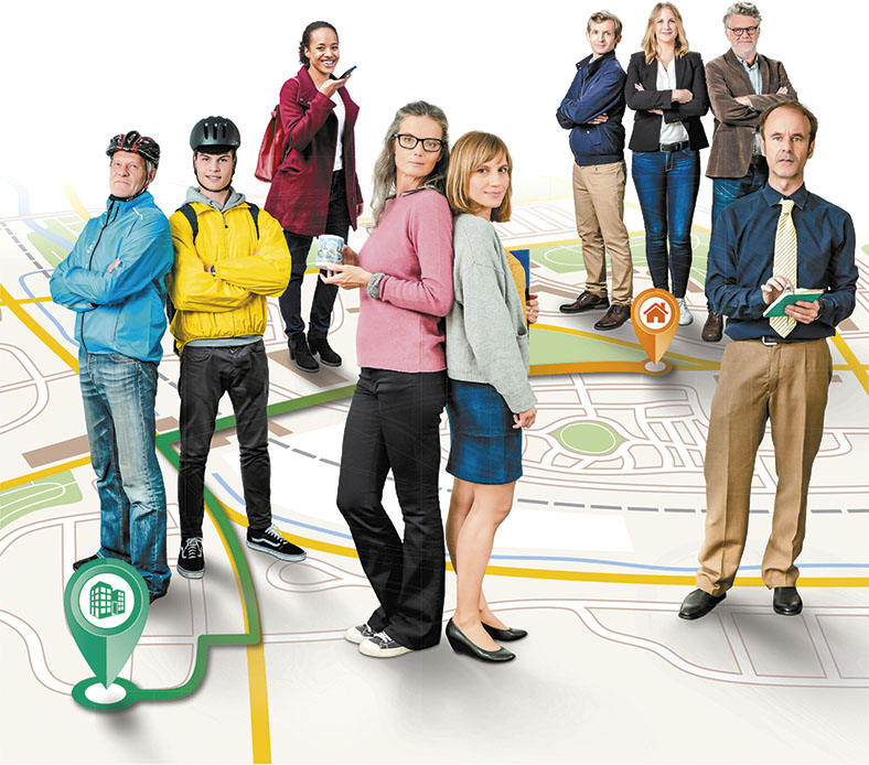 Dargestellt sind mehrere Personen, teilweise in Straßenkleidung und mit Fahrradhelmen. Sie stehen an verschiedenen Stellen eines Stadtplans.