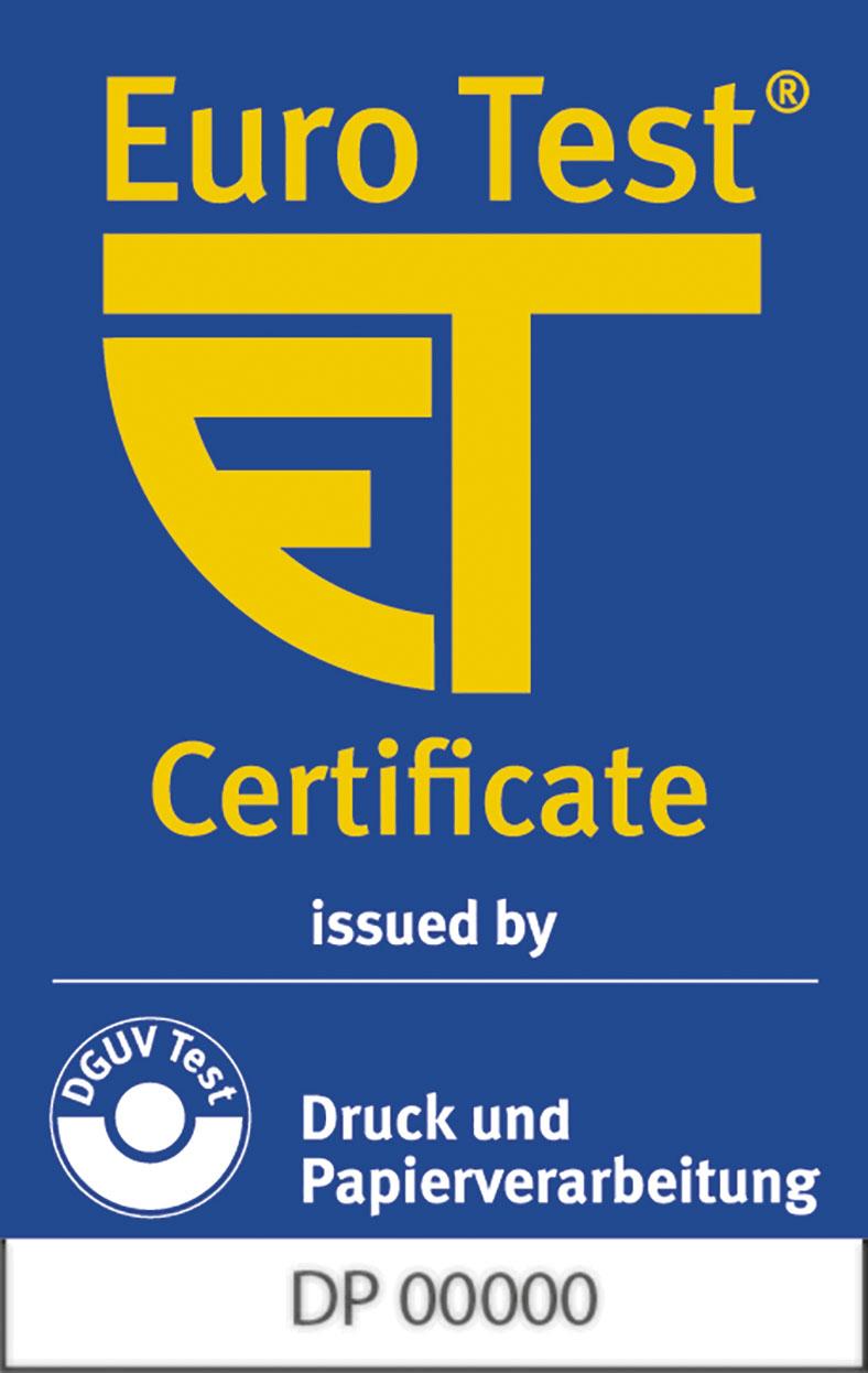 EuroTest-Zeichen zeigt in gelb die Initialen ET vor blauem Hintergrund.